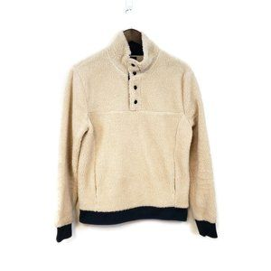 J Crew Mens Authentic Cream Navy Blue Fleece Snap Sherpa Pullover Size S Soft